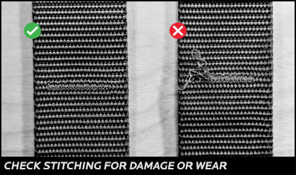 Check stitching for damage or wear
